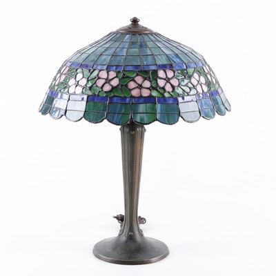 Handel Art Nouveau Table Lamp with Slag Glass Shade, Early 20th Century