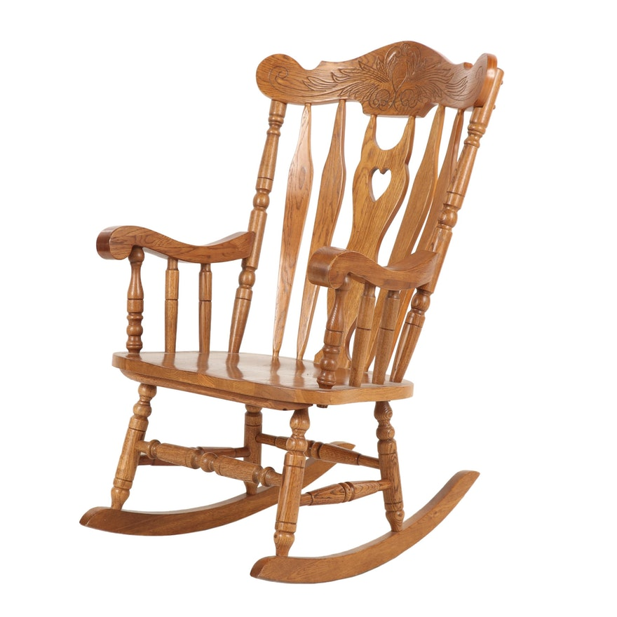 Oak Rocking Chair with Carved Accents; Late 20th Century
