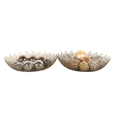 Contemporary Metal Bowls with Assortment of Decorative Carpet Ball Ornaments