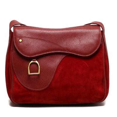Gucci Red Suede and Leather Shoulder Bag, 1970s Vintage