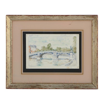 Andre Gisson Watercolor and Ink Painting of City River