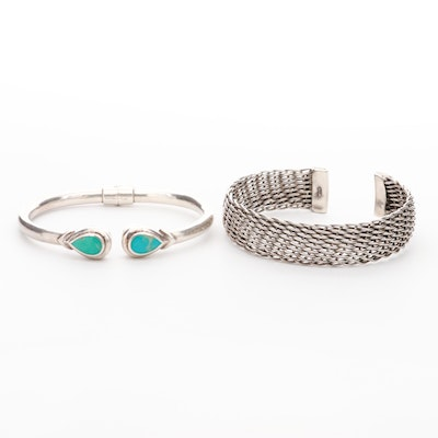 Sterling Silver Turquoise Hinged Bracelet and Woven Wire Cuff Bracelet