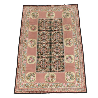 French Style Floral Needlepoint Wool Area Rug