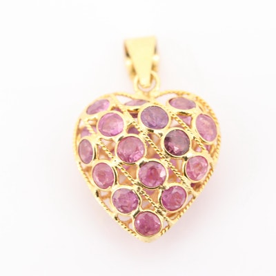 18K Yellow Gold Double-Sided Ruby Heart Pendant