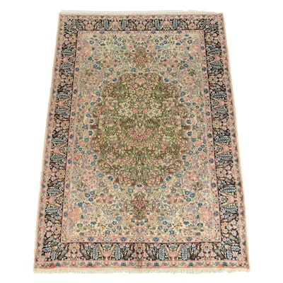 Hand-Knotted and Signed Persian Kerman Wool Area Rug