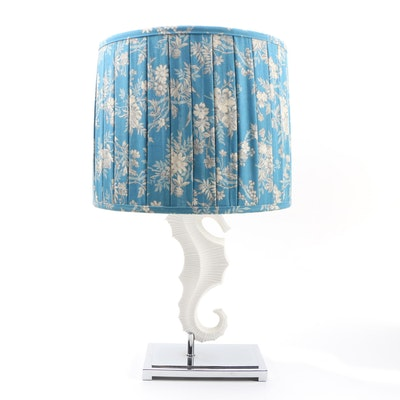 "Jonathan Adler ""Seahorse Menagerie"" Lamp with Woven Twill Pleated Drum Shade"