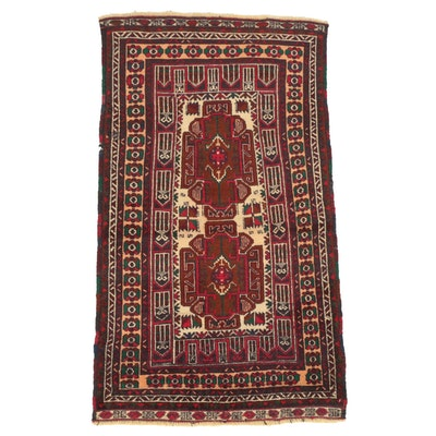 Hand-Knotted Afghan Baluch Wool Accent Rug