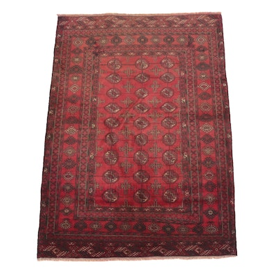 Hand-Knotted Afghan Yomut Bokhara Wool Area Rug