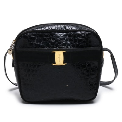 Salvatore Ferragamo Black Alligator Embossed Leather Crossbody Bag