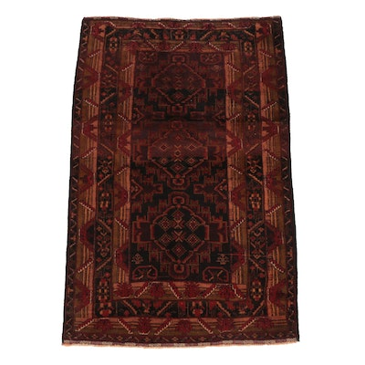 Hand-Knotted Afghan Baluch Rug