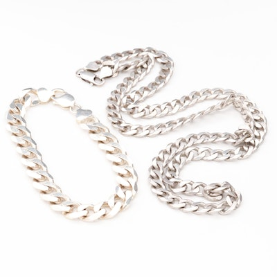Sterling Silver Curb Link Necklace and Matching Bracelet