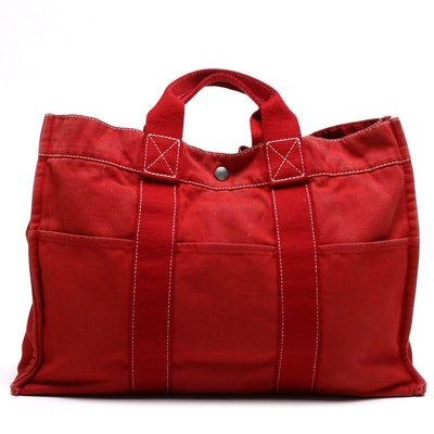 Hermès Paris Red Fourre Tout MM Canvas Tote