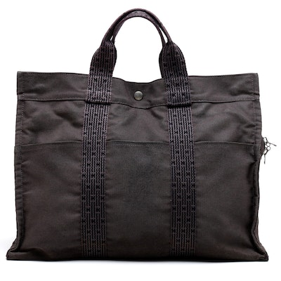 Hermès Paris Gray and Black Herline Canvas Tote Bag
