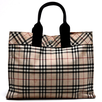 "Burberry London Blue Label ""Nova Check"" Nylon Tote Bag"