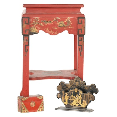 Chinese and Japanese Style Wooden Objects including Chinoiserie Painted Table