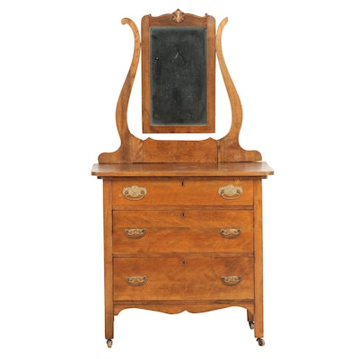 Wooden Dresser with Attached Mirror, Early 20th Century