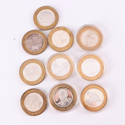 Ten Limited Edition Silver Gaming Tokens
