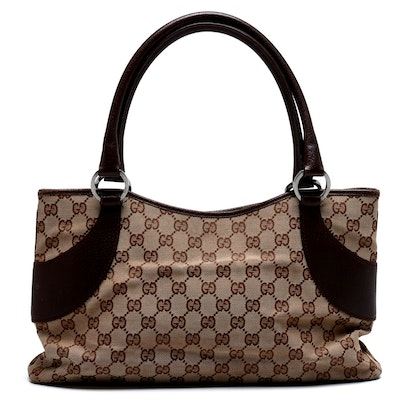 Gucci Tan GG Supreme Canvas and Brown Leather Tote Bag