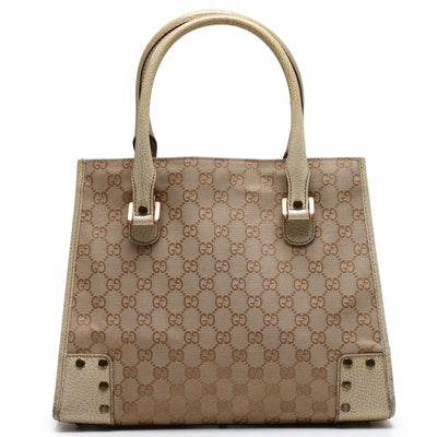 Gucci Beige GG Supreme Canvas and Leather Studded Tote Bag
