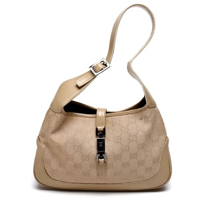 Gucci Beige GG Canvas and Leather Jackie O Mini Shoulder Bag