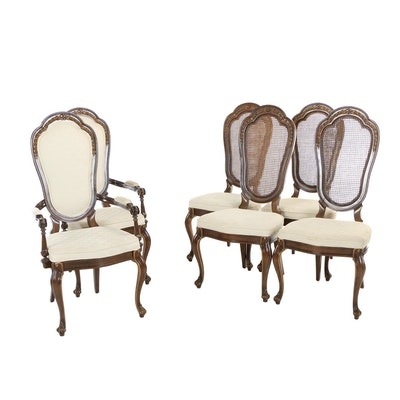 Six Louis XV Style Walnut-Stained and Parcel-Gilt Dining Chairs, 20th Century