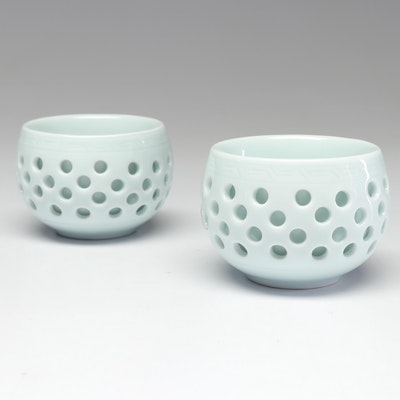 Chinese Celadon Porcelain Rice Bowls