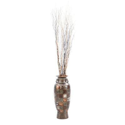 Large Chinese Ceramic Floor Vase with Artificial Plant