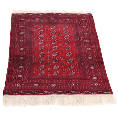 Hand-Knotted Persian Turkman Wool Rug