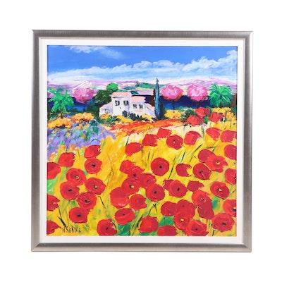 Nicole Sebille Oil Painting of a Poppy Field