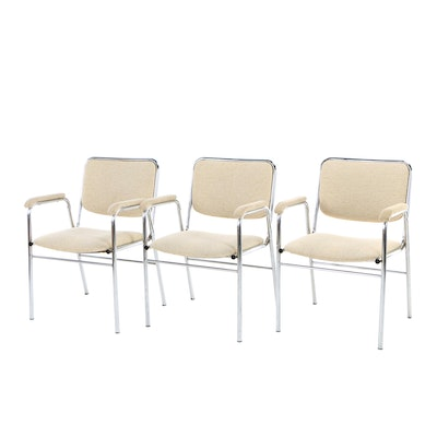 Three Mill Business Furniture, Modernist Chromed Tubular Steel Office Armchairs