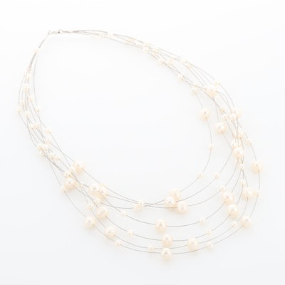 Sterling Silver Cultured Pearl Multi-Chain Station Necklace