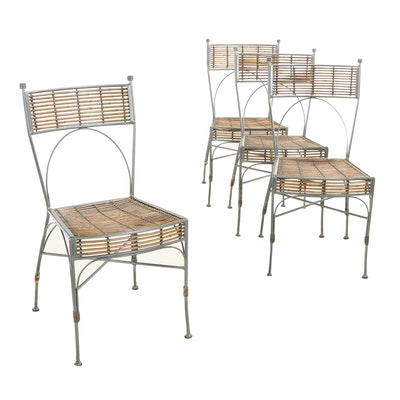 Four Contemporary Metal Rod and Bamboo Dining Side Chairs