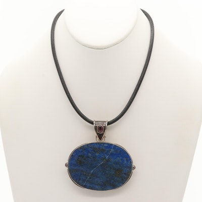 Sterling Silver Lapis Lazuli and Garnet Necklace