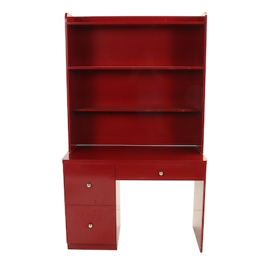 Modernist Style Red Laminate Bookcase-on-Desk, Late 20th Century