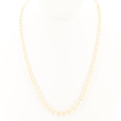 14K Yellow Gold Cultured Pearl Graduating Necklace