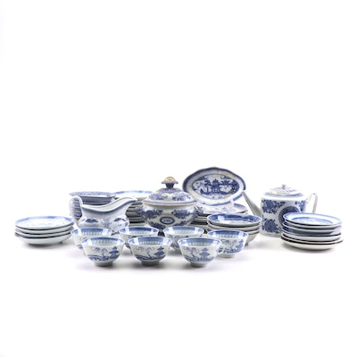 Chinese Blue and White Porcelain Tableware Including Canton, 19th Century