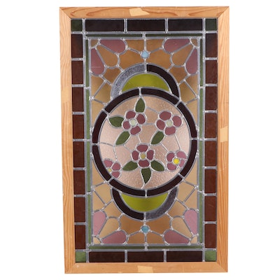 Re-Framed Floral Leaded Stained Glass Window, Early 20th Century