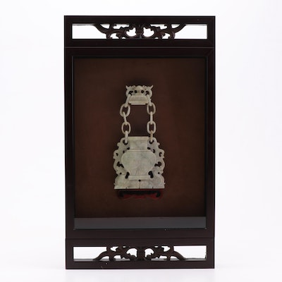 Chinese Carved Stone Censer in Shadow Box Display