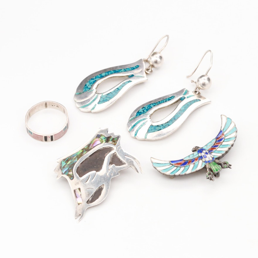 Mexican Sterling Turquoise Resin Earrings, with Abalone and Enamel Pins and  Ring