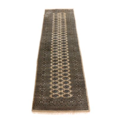 Hand-Knotted Pakistani Bokhara Wool Carpet Runner