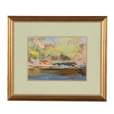 Edmond J. Fitzgerald Watercolor Landscape Painting