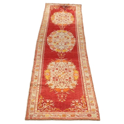 Hand-Knotted Anatolian Konya Wool Carpet Runner