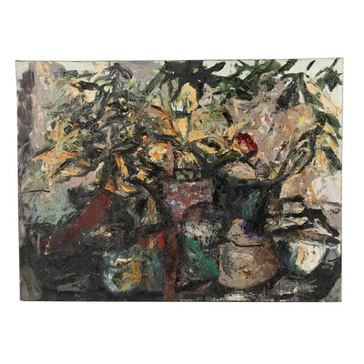 """Richard Snyder 1985 Monumental Abstract Oil Painting """"Still Life"""""""