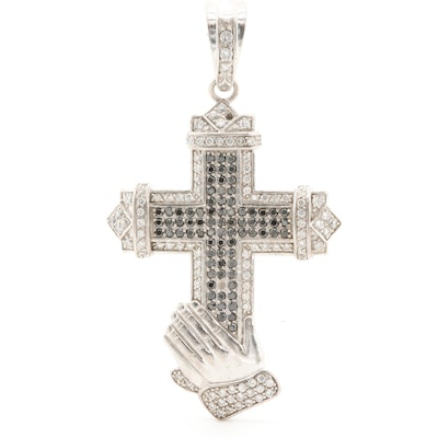 Sterling Silver Cubic Zirconia and Black Cubic Zirconia Cross Pendant