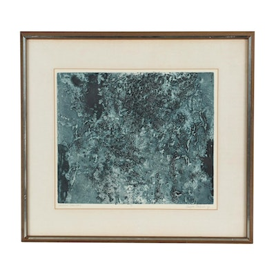 """Margaret Philbrick Abstract Etching """"Unknown Territory"""""""