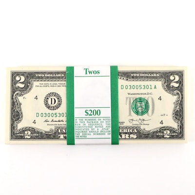 100 Uncirculated Series 2013 U.S. $2 Federal Reserve Notes