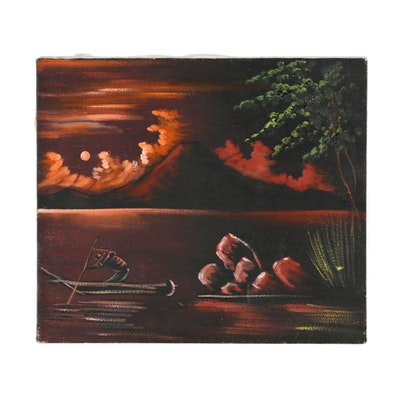 Late 20th Century Oil Painting of Nocturnal Waterscape