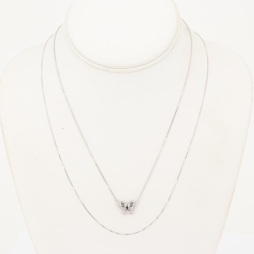 4097192a2f95e 14K White Gold Sapphire and Diamond Butterfly Pendant Necklace with Extra  Chain