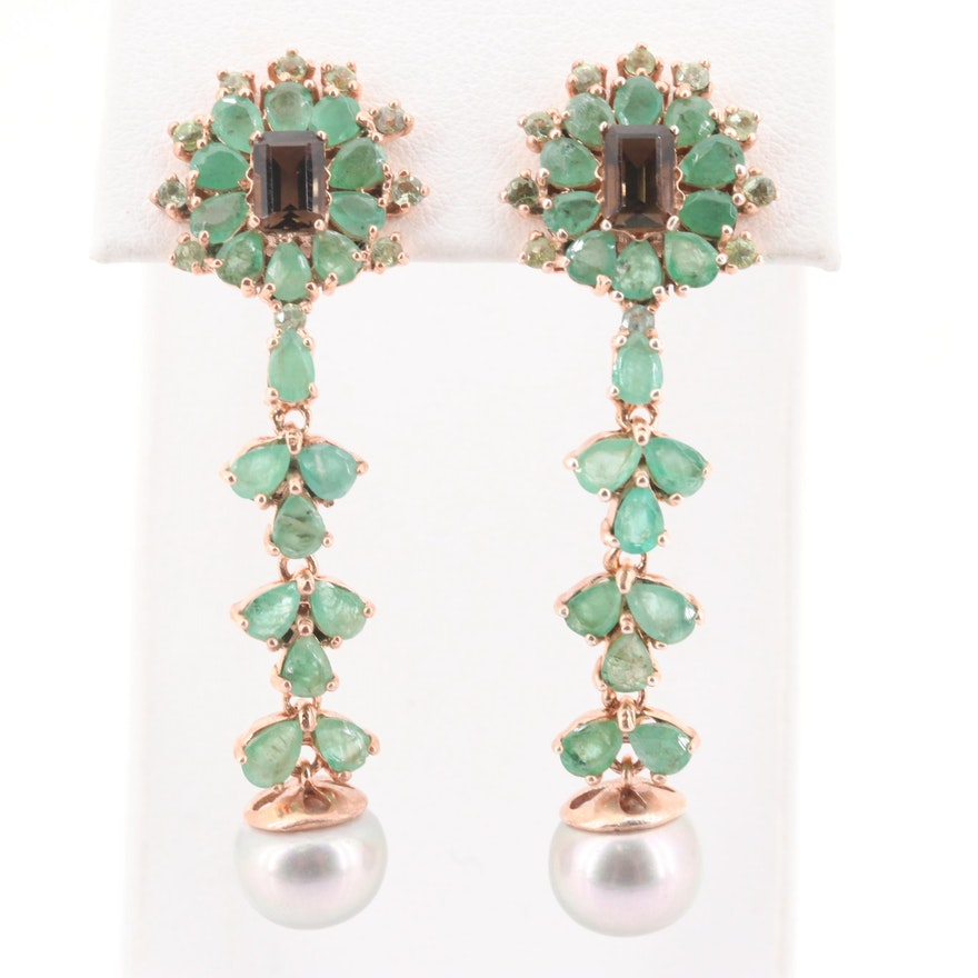 B&C Auto Sales >> Sterling Silver Emerald, Smoky Quartz and Pearl Earrings with Rose Gold Wash | EBTH