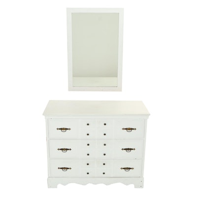 White-Painted Chest of Drawers Plus Mirror, 20th Century
